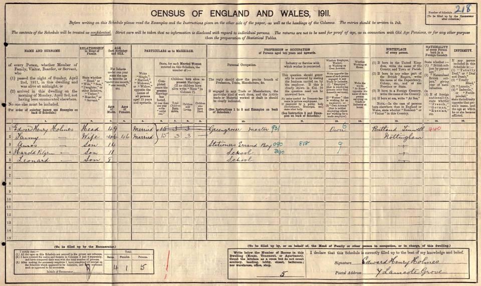 Amos Holmes 1911 Census