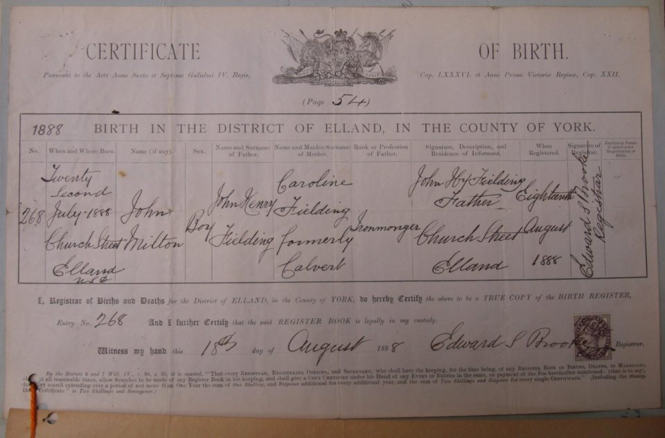 Fielding Birth Certificate