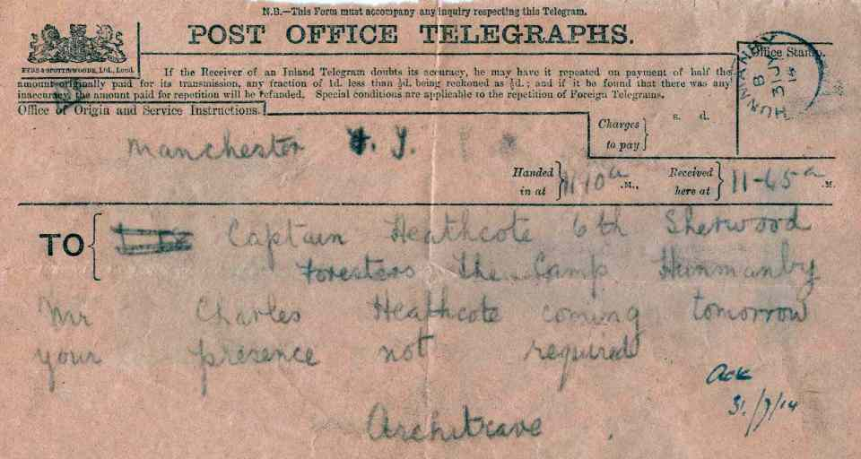Heathcote 1914 Telegram