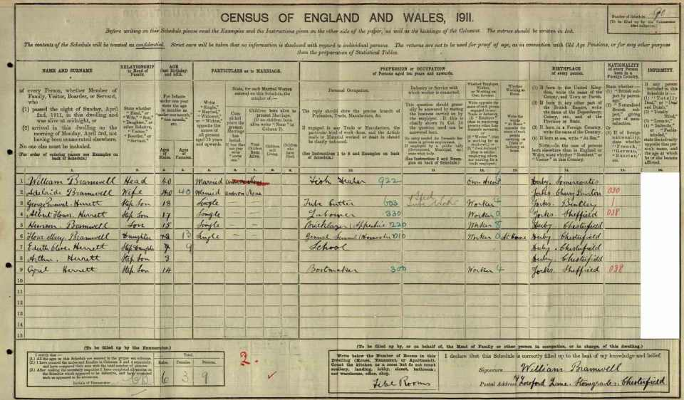 Bramwell 1911 Census
