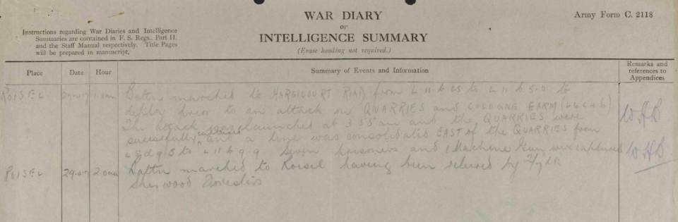 2:6th War Diary April 1917 Jackson death