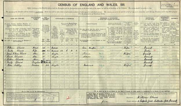 Clewes 1911 Census