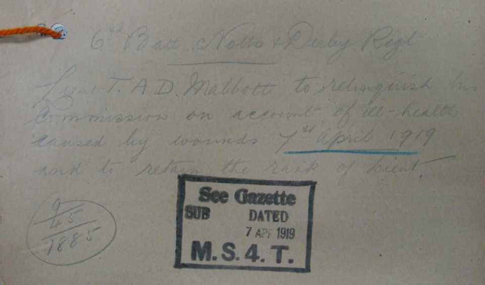Mabbott wounding 1919