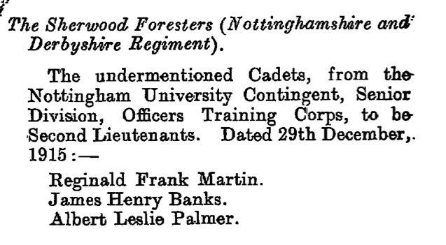 Palmer Albert Leslie LG December 1915