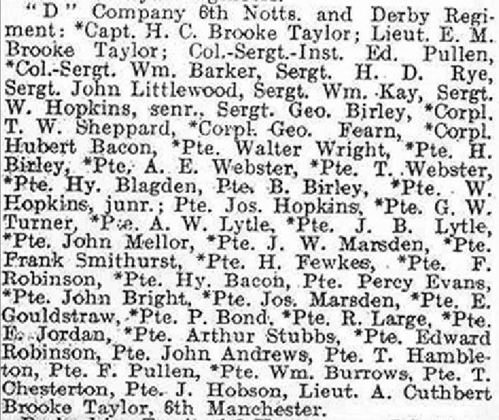 D Company 1914