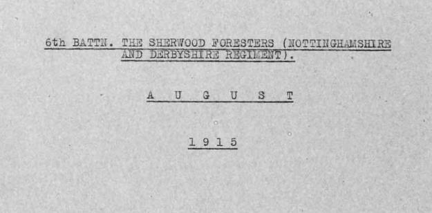 War Diary August 1915