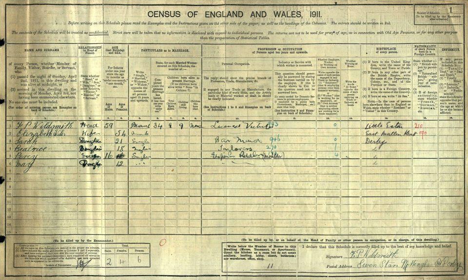 Wildsmith 1911 census