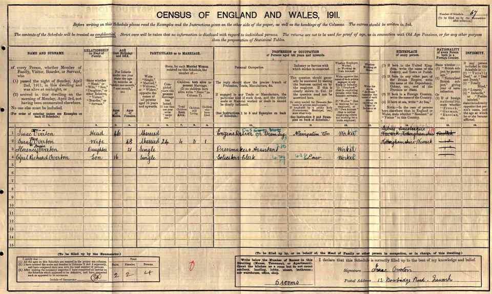 Overton 1911 Census