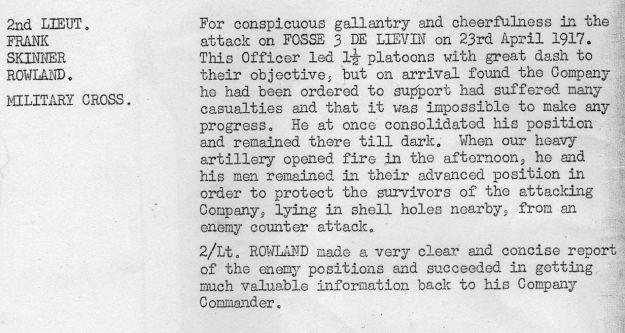 Rowland MC April 1917