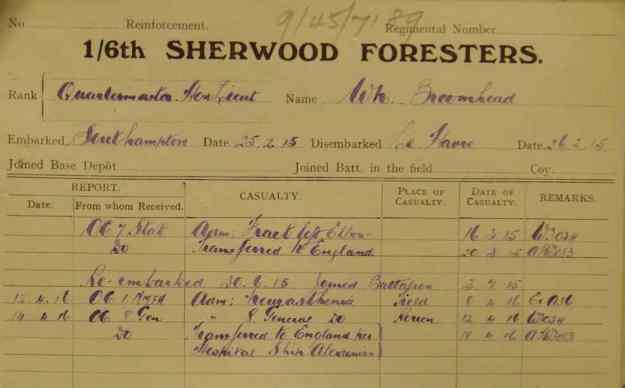 Broomhead 1916 to England