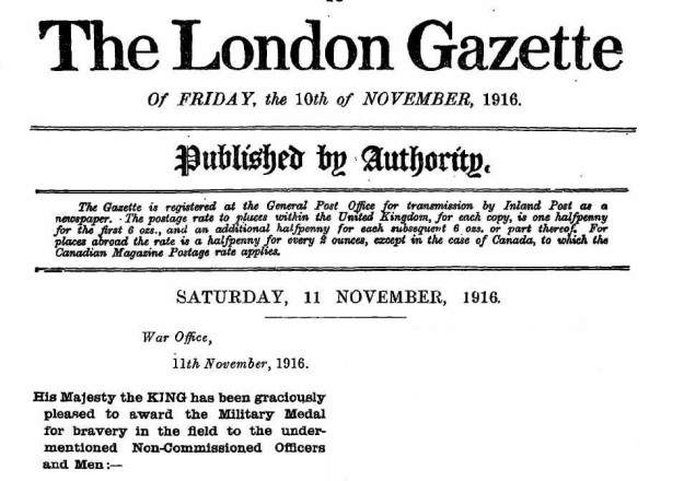 London Gazette November 1916