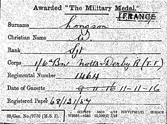 Longson Military Medal 1916